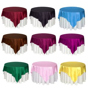 Double Stitched Edge Satin Table Cloth Overlay For Home Christmas Party Table Decoration 22 colors 140*140cm Disposable Tablecloth