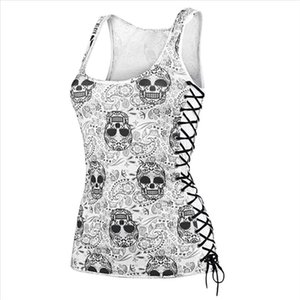 JAYCOSIN Blouse Ladies tops Women Skull Print Round Neck Hollow out Sleeveless Slim Vest Tops Blouse shirts women 2020 summer