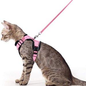 Yansıtıcı Pembe Kedi Yelek Koşum Ile Tasma Set Yürüyüş için Yumuşak Örgü Küçük Orta Yavru Yavru Köpek Rabbit LJ201225 Için Küçük Köpek Koşum