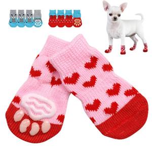 4 teile / satz Niedlichen Welpen Hund Strick Socken Kleine Hunde Baumwolle Anti-Rutsch Cat Schuhe Für Herbst Winter Innennütze Slip auf Pfotenschutz GWA3022