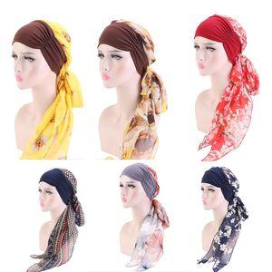 Frauen Kopf Schal Muslimische Turban-Hut Blumen gedruckt Headwear Beanie Coverings Sommer Kopf Wrap Chiffon