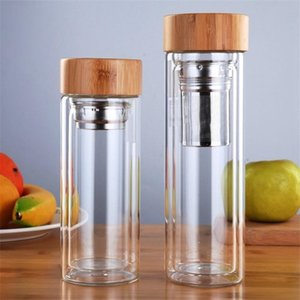 Water Bottles With Tea Infuser Filter Vacuum Cups Bamboo Cover Glass Bottle For Outdoor 350ml 450ml DHB658