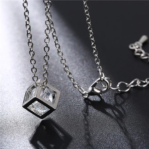 New square Crystal Love Magic Cube Square Shape Pendant charm Necklace Geometric polygon necklace For Women Wedding Gift jewelry