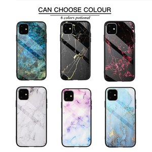 Quadrado de volta de vidro temperado de mármore para iphone 11 Protecção à prova de telefone móvel Protegrante à prova de choque do iPhone 11 para iphone 6 7 8 xs max xr capa capa