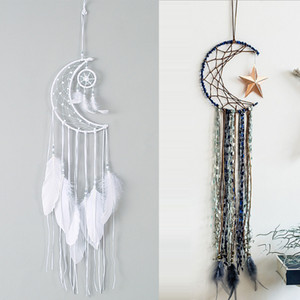 Large Dream Catcher Half Moon Shape Kids Wall Hanging Decoration Handmade White Feather Dreamcatchers for Wedding Craft Gift