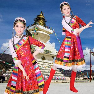 Chinese Women Dance Dress Traditional Tibetan Stage Performance Costume Classic Minority Costumes Adult Modern Dancing Clothing1