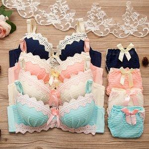 2021 Hot Sweet Lolita Style Training Set 2pcs for Young Girls Retro Underwear Teen Girl's Bra Women Pure Cotton Lingeries Suit