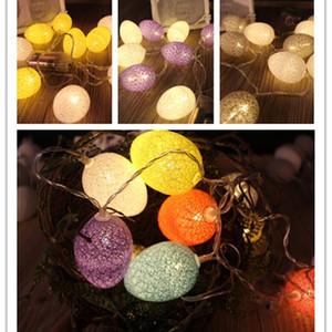 Cordons de fête d'oeuf de Pâques Cordes de lumière Coton Egg Lampe LED 4 Couleur 1.8m-4.8m Powered par batterie BWE3064