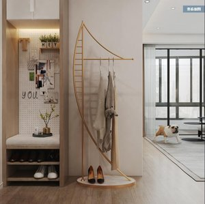 Nordic ins clothes rack floor to floor bedroom hanger home to floor good-looking clothes rack marble clothes and hat rack