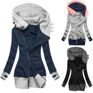 Women Tops Ladies Fashion Casual Sports Solid Color Coat Jacket Turtleneck Zipper Pocket Sweatshirt Long Sleeve Coat Mujer