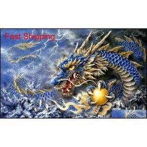 5d Diamond Embroidery Needlework Diy Diamond Painting Cross Stitch Kits Animal Dragon Totem Full Round Diamond qylany homes2007