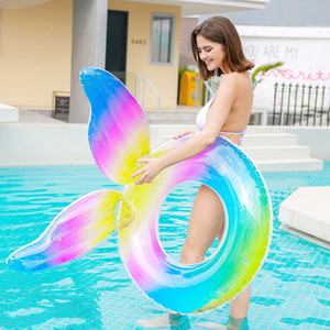 ColorfuI Inflatable Swimming Ring Adult Paillett Floating Circle Woman Giant Pool Summer Beach Water Play Life Buoy Raft Z1202