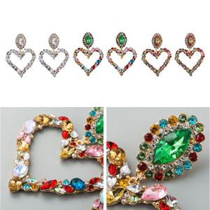 1 пара блестящие Rainbow Crystal Hrinestone Большой сердечный кулон Hangly Bib Серьги Заявление Серьги Женщины Мода Jewelr