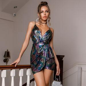 JSLA Backless Dress Halter Без рукавов Сексуальные платья Подвеска Женщины Леопардовый Галстук Краска Красочные Моды Дамы напечатаны BS006