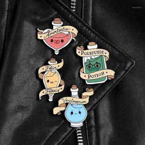 Poção Mágica Esmalte Enamel Pins Love Transform Sortudo Magia Garrafa de Lapela Badges Camisa Saco Pins e Broches Filme Jóias Presente Para Fans1