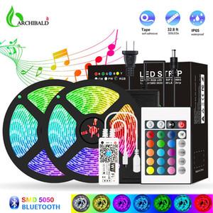 Bluetooth LED Şerit Işıkları 20 M RGB 5050 SMD Esnek Şerit Su Geçirmez RGB LED Işık 5 M 10 M Bant Diod DC 12 V Kontrolü