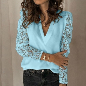 Women's Tshirts Casual Solid Color Lace Tops Long Sleeves Chiffon Plus Size T-Shirt Loose Pullover V Neck Women Clothing Tunic