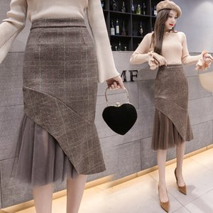 Plaid Skirt Women's Clothes Autumn Winter Lace Patchwork Package Hip Skirt Fashion Sexy Ladies Skirt