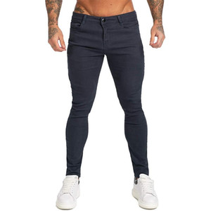 Mens Solid Color Skinny Jeans Fashion Zipper Button High Street Denim Pencil Pants Spring Male Washed Skateboard Casual Slim Trousers
