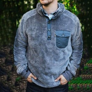 2020 Plush Sweatshirts Men's Clothing Men Sweatshirt Top Solid Pocket Long Sleeve Pullovers Winter Clothes Casual Tops For Male
