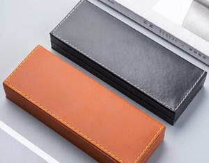 50pcs lot High-grade PU Leather Pencil Case Business Pen Plastic Pen Case Pencil Bag Advertising Gift Box School Supplies SN4919