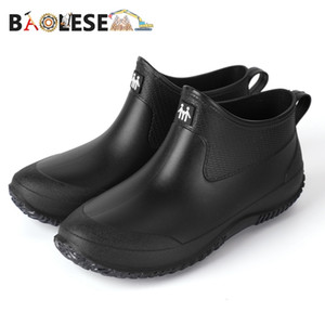 BAOLESEM Rain Men's Rubber Man Water-proof Anti-skid Colorful Unisex Ankle Lightweight Water Boots High End Q1216