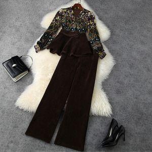 Avrupa ve Amerikan kadın giyim 2020 kış yeni stil uzun kollu v yaka baskı hoodie kadife geniş bacaklı pantolon moda takım elbise
