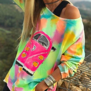 Tie Dye Print Women T shirt Colorful Off Shoulder Plus Size 5XL Long Sleeve TShirt Female 2020 Summer Spring Outdoor T shirts