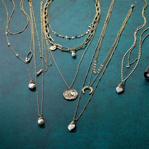 New Multilayer Pearl Moon Necklaces & Pendants For Women Vintage Charm Gold Choker Necklace 2020 Fashion Jewelry Wholesale