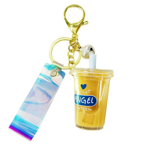Car Keychain Mini Milk Tea Cup Liquid Crystal Quicksand Sequin Key Ring Bag Pendant for Women