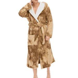 Automne / hiver Hommes Nightgown Kimono Peignoir Robe de peignoir Coral Fleece Négligée V-Cou Lingerie Intime Couleur Solid Couleur Sleep Heightwear