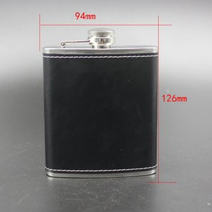 7oz Black Hip Flask Stainless Steel Flagon Wine Pot Outdoor Portable PU Leather Cover Hip Flasks Whiskey Bottle