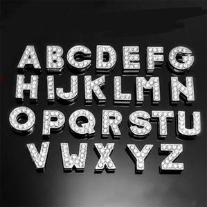 10mm A-Z Full Rhinestone Slide Letters Pendants 26 English Alphabet Letter Charm Pendants Women Man DIY Wristband Bracelet Necklace