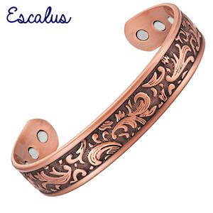 ESCALUS Magnetische Vintage Reine Kupfer Modeschmuck Armreif Für Frauen Energie Bio Armband Für Männer Charme Armbänder Armband 201211
