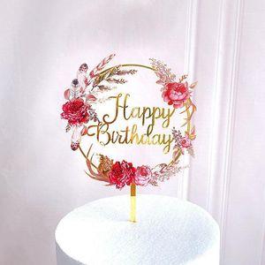 Другие праздничные партии поставляет с днем рождения акриловый торт топпер золотые цветы свадьба для девочек украшения детские душ1