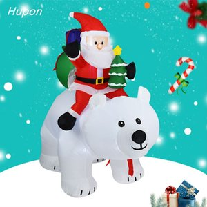 210cm Santa Claus Rides A Shaking Head Bear Inflatable Christmas Outdoor Decorations for Home kids Gift Christmas Party Decor Y1125