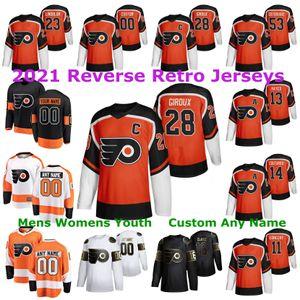 Filadelphia Flyers 2021 Обратная ретроприки 13 Lil Peep Jersey 28 Claude Giroux Carter Hart Jakub Voracek Travis Konecny Custom Shisted