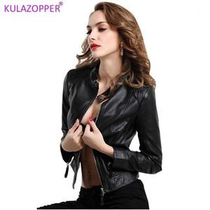 Kulazopper PU couro preto jaqueta 2019 outono mulheres jaqueta de couro mandarim colarinho zipper curto lk0181