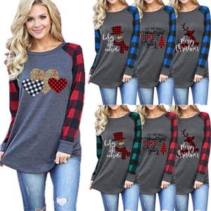 Frauen Plaid-Panel Raglan-T-Shirt ELK Snowman Baum Druck Bluse Langarm Patchwork T-Shirt Pullover Übergrößen T-Shirts für Weihnachten Blusen