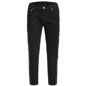 2020 New Style Jeans Black With Sequins Detail On Two Side Fashion Black Denim Slim Fit For Men Online SALE
