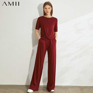 Amii Minimalismo Primavera Verano Moda Mujeres Set Solid On Boeck Flojo Diseño Plisado Tshirt Cintura Elástica Femenina Female Set 120703051
