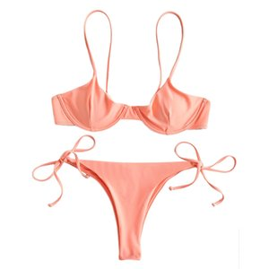 Sexy Tie Side Women Bikini Set Solid Color Low Waisted Bathing Suit Summer G-String Thong Beach Triangle Suit Swimming Suit