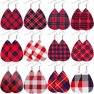 Nouveau Noël Faux Boucles d'oreilles en cuir rouge Dangle Plaid Teardrop Boucles d'oreilles à damiers en cuir pour femme Cadeaux