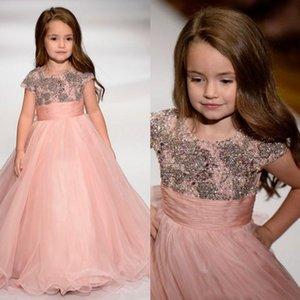 Blush Pink Flower Girls Dresses Rhinestone Bead Ribbon Short Sleeve Girls Pageant Gowns Floor Length Custom Made Flower Girl Dress2020