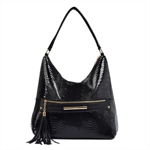 Women Tassel PU Leather Hobos Shoulder Bags Zipper Designer Snake Pattern Large Top Handle Tote Bag Handbags for Ladies