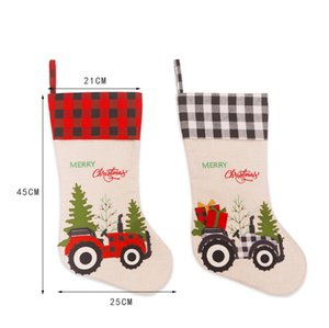 Christmas Stockings Gifts Bag Candy Bag Christmas Tree Ornament Xmas Cutlery Bag For Dog Paw Plaid Home Party Decorations DWF3252
