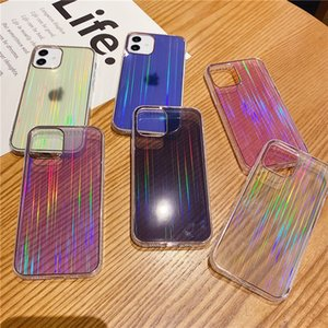 Electroplated wire drawing Aurora protective cover transparent anti falling property phone case for iPhone 12 11 Pro max XR X XS MAX 7 8