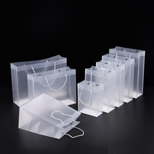 Frosted PVC Plastic Gift Bags with Handles Waterproof Trnasparent PVC Shopping Bag Pounch Clear Handbag Party Bags Custom Logo 0311Pack