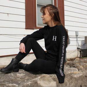 Vsenfo Harry Stil Tişörtü Kadınlar Nezaket Hoodies ile İnsanları Tedavi Komik Mektuplar Baskılı Harajuku Kazak Bahar Sonbahar Y200610