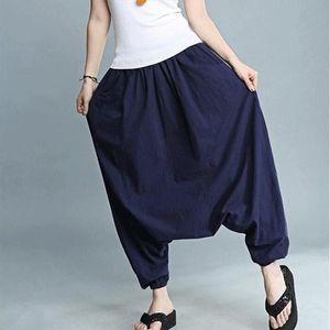 Cotton Linen Solid Plus Size M 6XL Harem Pants Women Elastic Waist Casual Lantern Pants Trousers 2020 New Pantalon Femme White